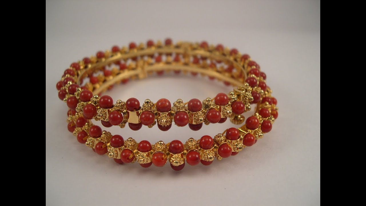 Designer Pearl & Coral Bangles Collections || gold bangles ...