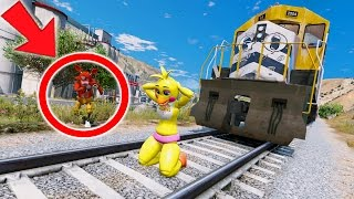 SPIDERMAN FOXY SAVES CHICA FROM EVIL TRAIN & BABY! (GTA 5 Mods For Kids FNAF Funny Moments)