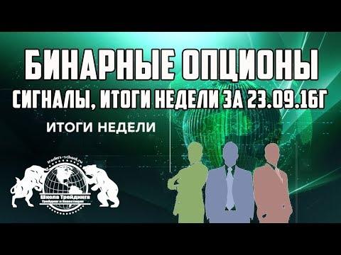 Бинарные  Опционы - Сигналы, Итоги недели за 23.09.16г