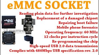 eMMC SOCKET All in one SUPPORTS BGA - 153/169, BGA -162/186 - 529 - 221 CHIP