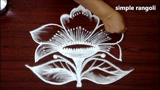 simple flower kolam designs with 5x3 dots || geethala muggulu designs || easy rangoli with dots