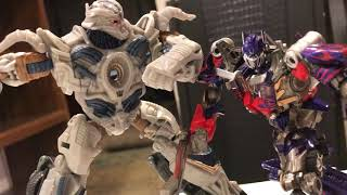 Transformers fall of Cybertron Optimus prime vs megaton stop motion