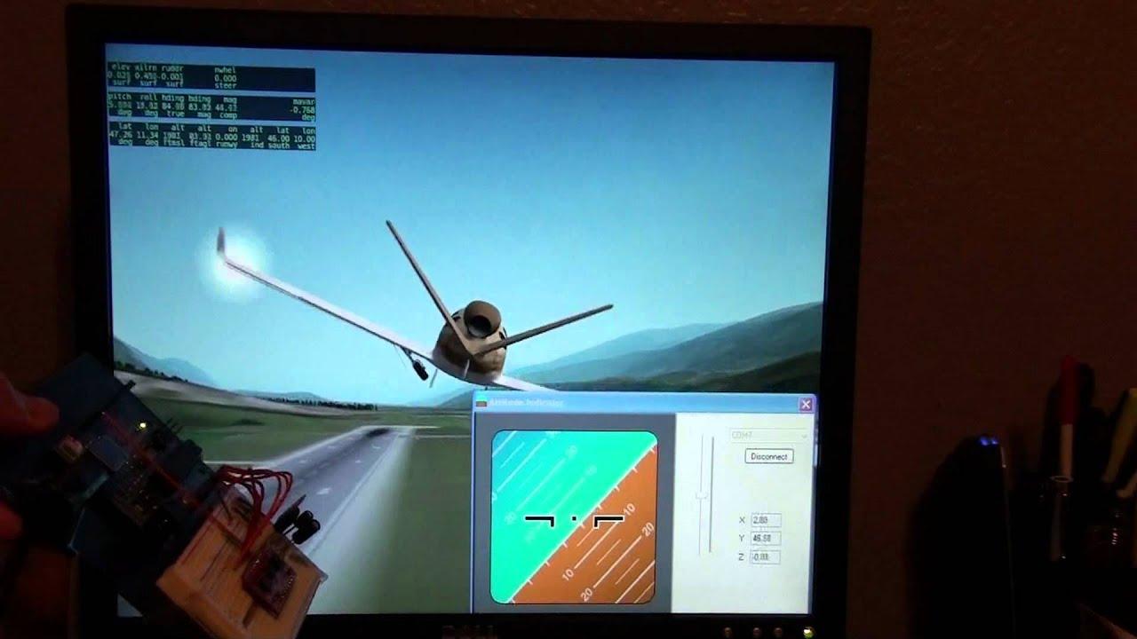 X plane c program arduino razor dof imu youtube