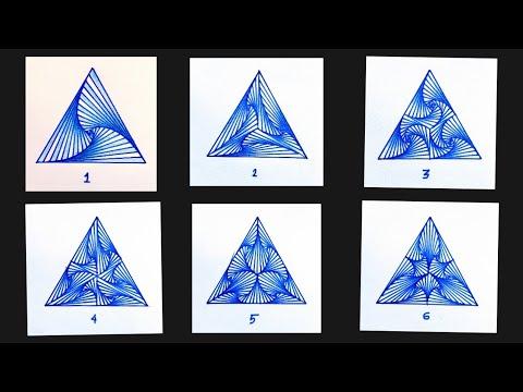 6 SINGLE PATTERN DESIGN IN A TRIANGLE   GEOMETRIC DESIGN   ZANTANGLE DESIGN   RAINBOW ART