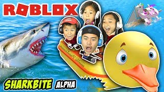 Rubber Duckie Boat Saved Me! | Sharkbite (Alpha) | Roblox Gameplay | Minecraft Ethan