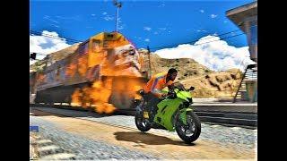 GTA 5 TRAIN ON FIRE !!!! AMAZING