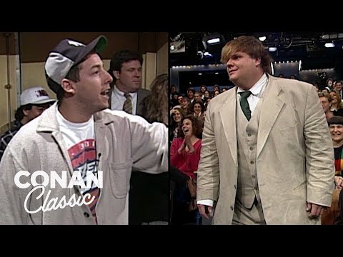 Adam Sandler & Chris Farley On 'Late Night With Conan O'Brien' 04/06/95