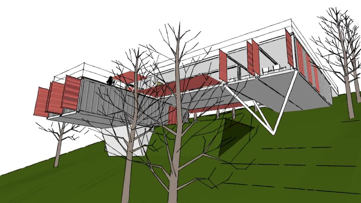 Casa 6 containers albania plus arquitectos youtube - Casas en pendiente ...