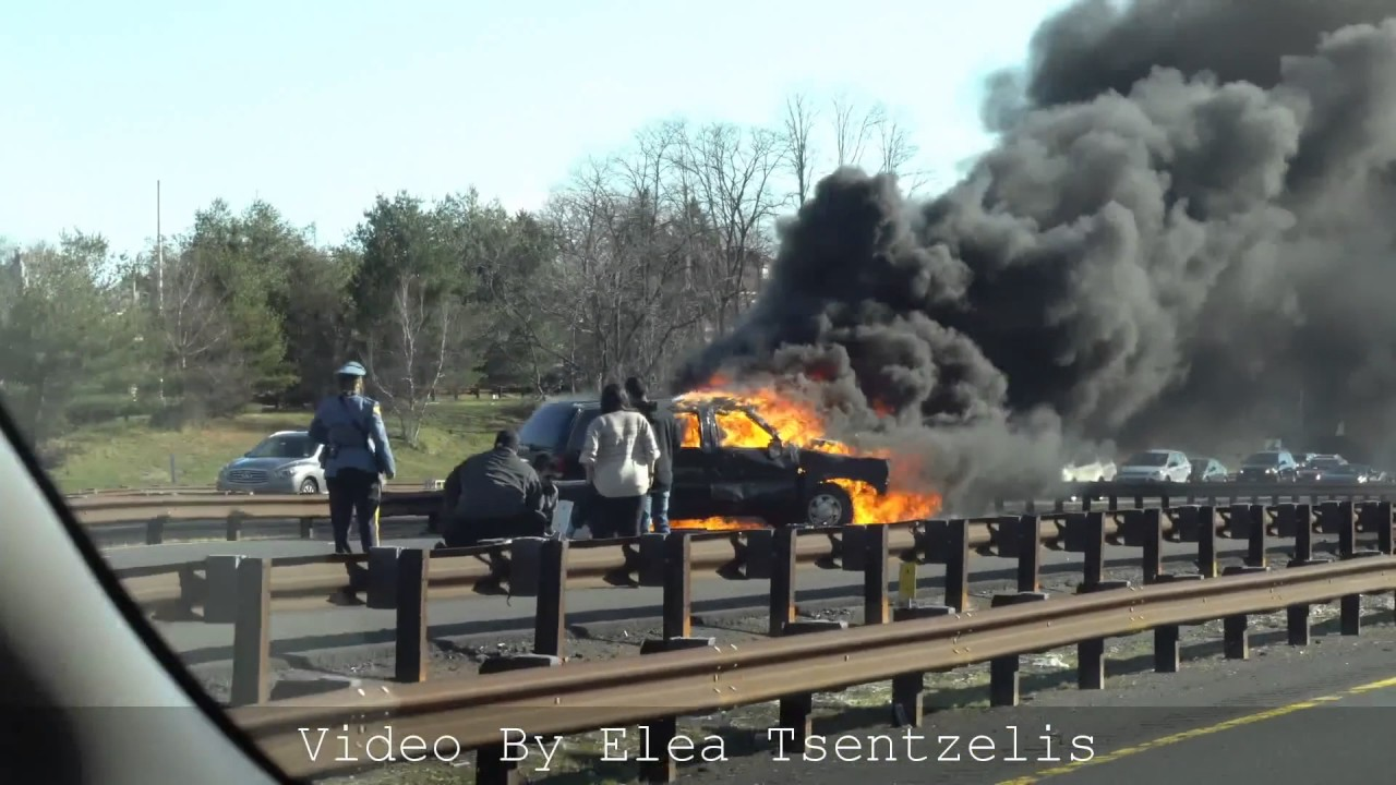 Fiery crash on parkway in aberdeen youtube - Car accident garden state parkway ...