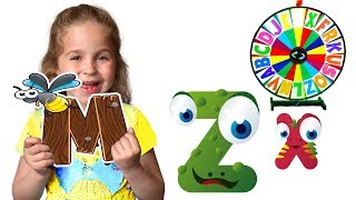 Alphabet magic spin with animation words #8 - Letters M, X, Z