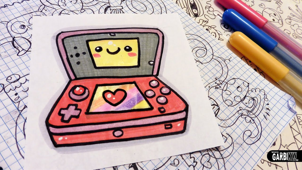 3d Line Drawing Game : How to draw a cute nintendo ds easy and kawaii drawings
