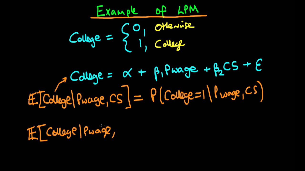 The Linear Probability Model Example Youtube