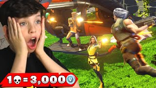 1 Elimination = 3,000 VBucks with My Little Brother! (Fortnite Chapter 2)