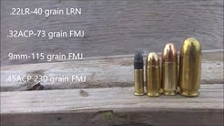 22LR, 32acp, 9mm and 45acp VS 2x4s penetration test