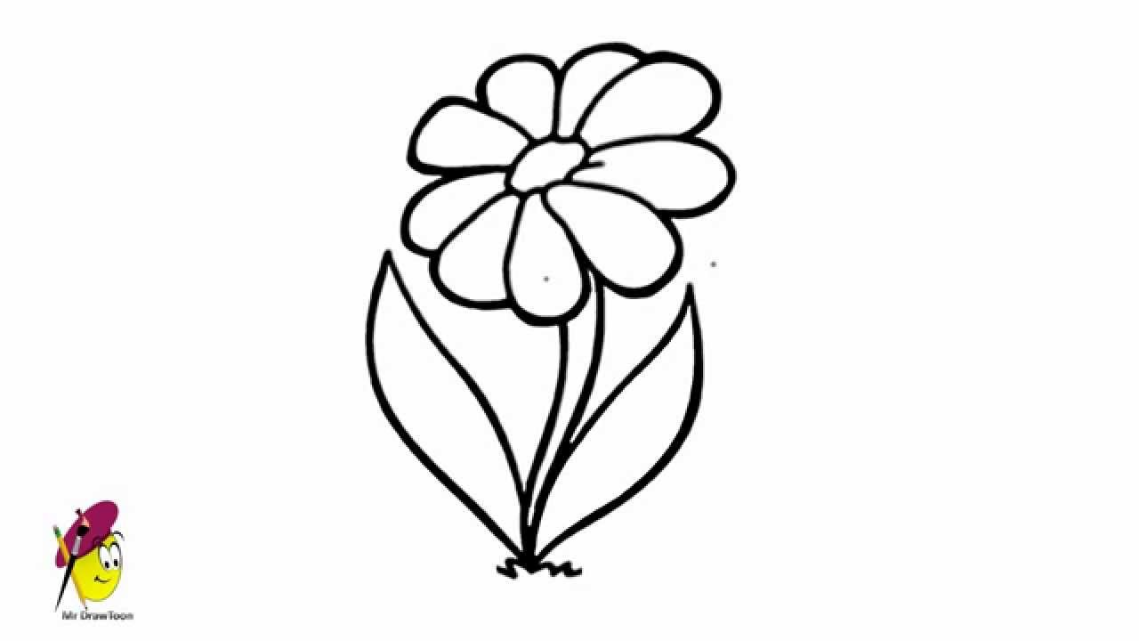 Simple flower drawing how to draw flower very easy for How to draw a basic flower