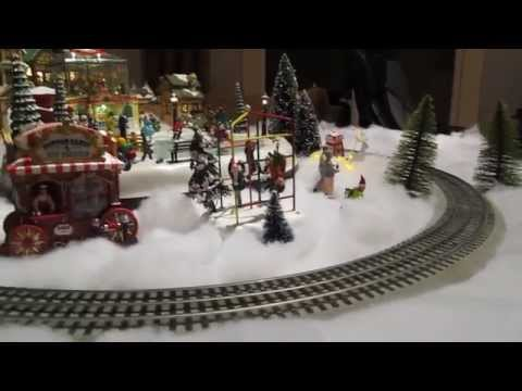 First Christmas Village 2013 with Lionel Train Set - YouTube