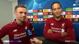 Jordan Henderson and Virgil Van Dijk react to Liverpool 2-0 Porto