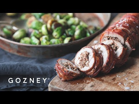 Stuffed Pork Tenderloin with Brussels Sprouts | Roccbox Recipes | Gozney