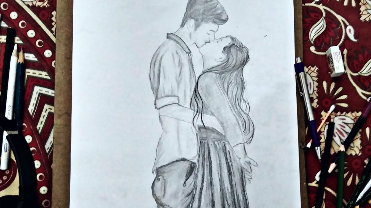 Pencil drawing of kissing how to draw girl and boy kissing lovely couple kissingyouart youandart · you art