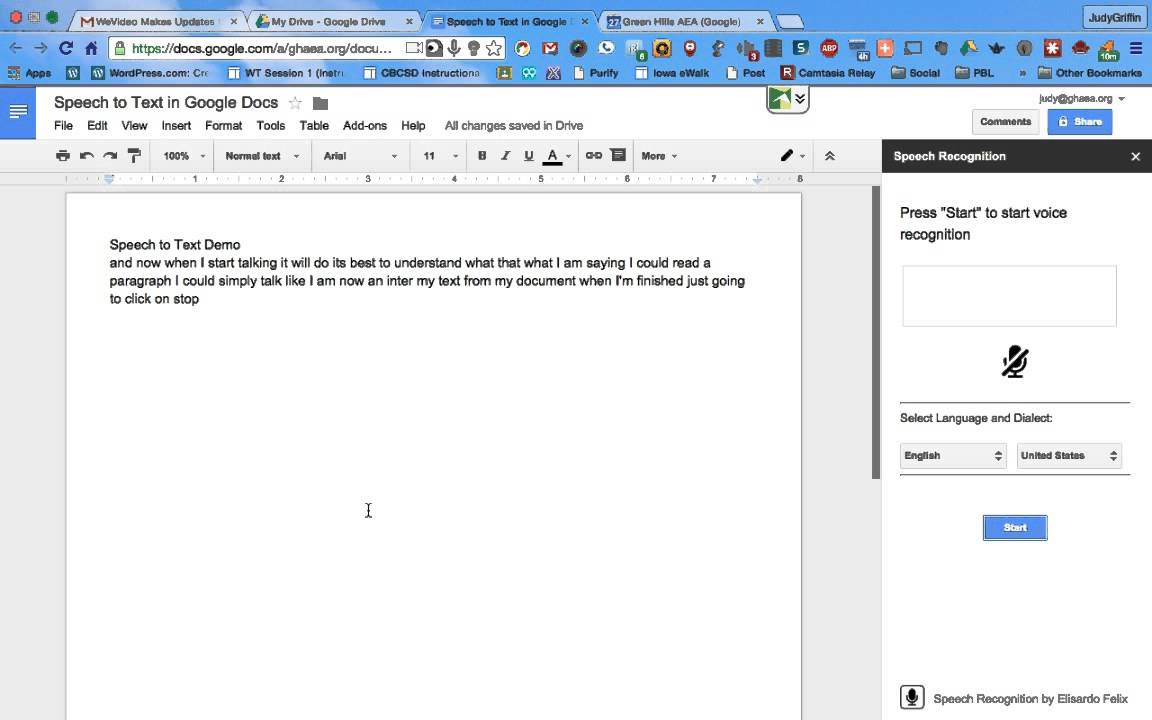 Google docs speech recognition add on youtube for Google docs voice dictation