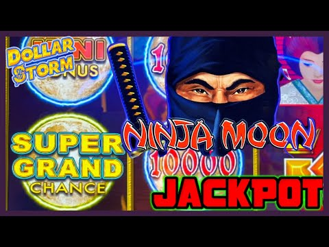 HIGH LIMIT Dollar Storm Ninja Moon SUPER GRAND CHANCE HANDPAY JACKPOT⚡️$10 Bonus Round Slot Machine