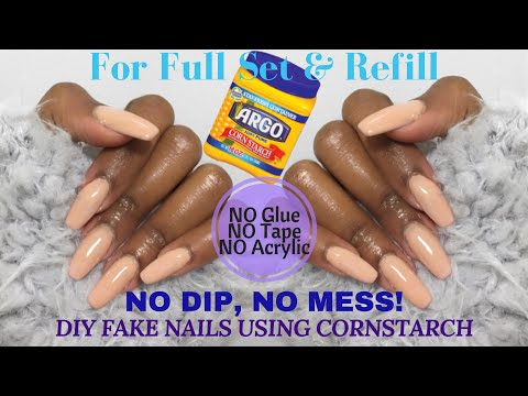 DIY: CORNSTARCH Fake Nails - NO Dip, NO Mess! | UPDATED METHOD | Nia Hope