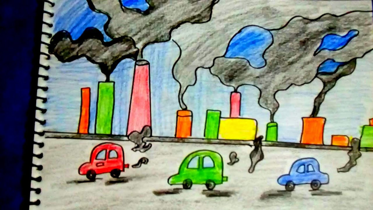 Easy drawing on air pollution save earth save life creative idea