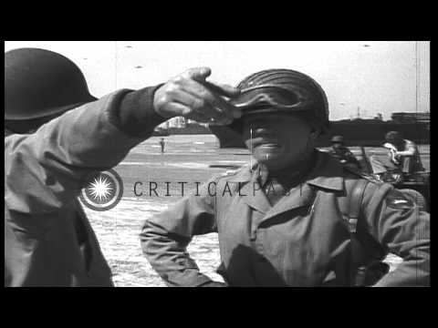 General J Lawton Collins and General Barton at Red Beach. HD Stock Footage