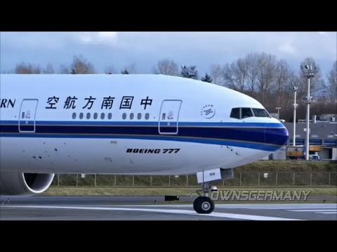 New China Southern 777-300ER Engine Starting Delivery Flight @ KPAE Paine Field