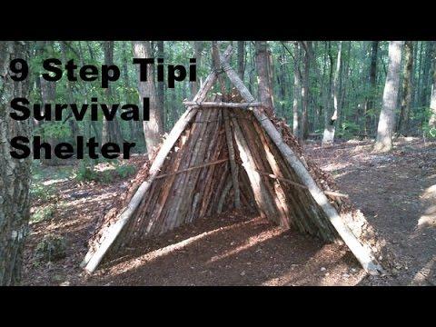 diy tipi survival shelter youtube. Black Bedroom Furniture Sets. Home Design Ideas