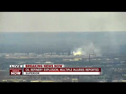 Oil refinery explosion in Superior, Wisconsin