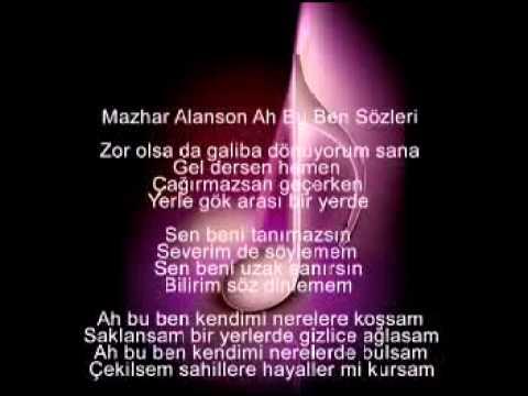 Mazhar Alanson Ah Bu Ben Sözleri Youtube