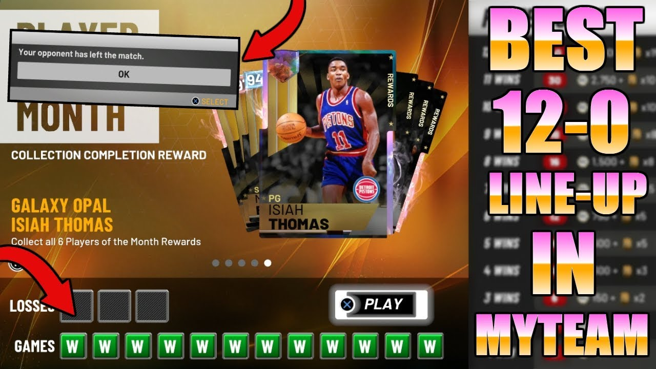 BEST 12-0 LINEUP FOR MYTEAM UNLIMITED!!! EASY FREE GALAXY OPAL ISIAH  THOMAS!!! (NBA 2K19 MYTEAM)