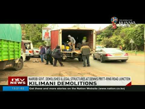 Nairobi county government demolishes illegal structures at Dennis Pritt road