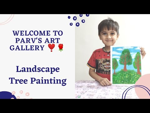 Green Tree | Landscape Painting | Easy Painting for Beginners | Acrylics | Kidspainting