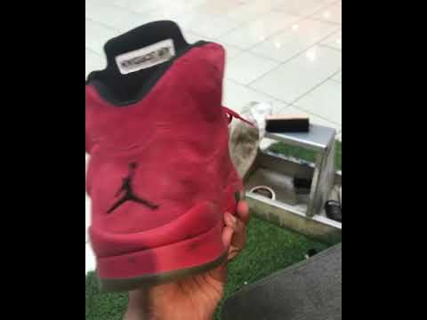 Before and after on Jordan red suede 5s using ShoeMGK Clean and protect
