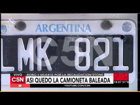 C5N - Policiales: Así quedó la camioneta baleada por la lucha por la recaudación stone