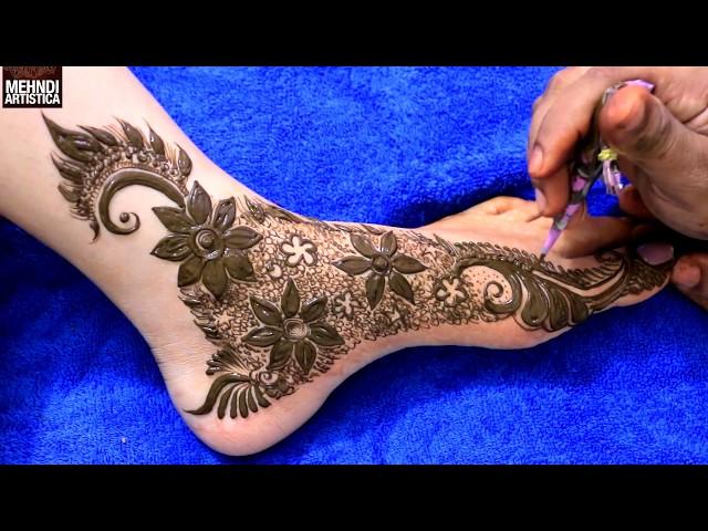 Stylish Dubai Mehndi Design For Feet | Floral Henna Mehendi Art For Festival