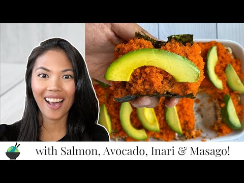 sushi-bake-recipe-with-salmon,-avocado,-and-inari-|-easy-sushi-casserole