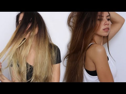 Coloring dyed blonde hair back to brown