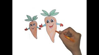 How to Draw Cartoon Carrot For Kids