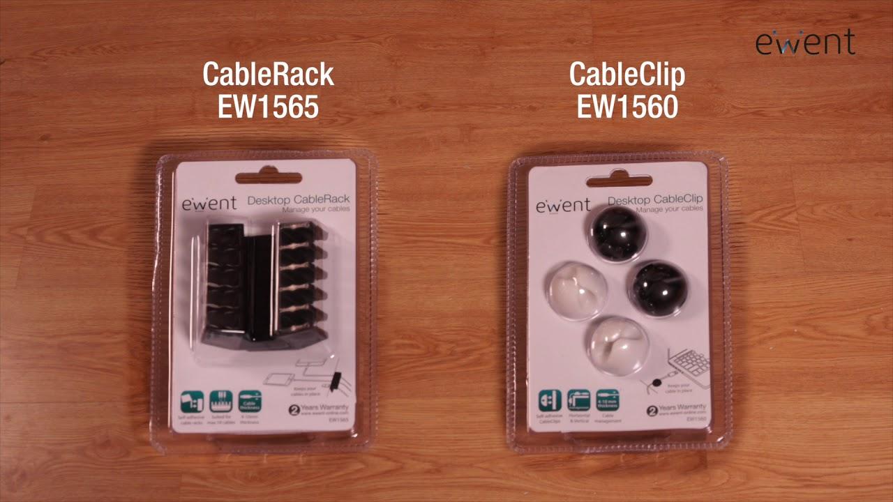 Set di 4 Pezzi Ewent EW1560 Clip per Cavi con Adesivo a Lunga Durata Nero//Bianco