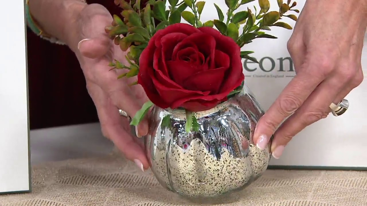 Real Touch Rose Foliage In Mercury Glass Vase W Gift Box By Peony On Qvc Youtube