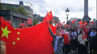 Chinese in London gather to oppose violence in Hong Kong