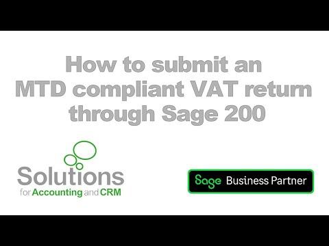 Sage 200 Cloud MTD VAT Submission