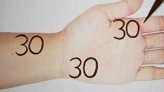 303030 Easy Arabic Mehndi Design Trick - Simple Number Mehendi Design for Hands - Stylish Henna