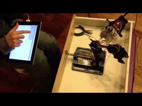 Robotic Arm (Johnny-Five, Arduino, Node js, JavaScript, HTML5 Range Input)