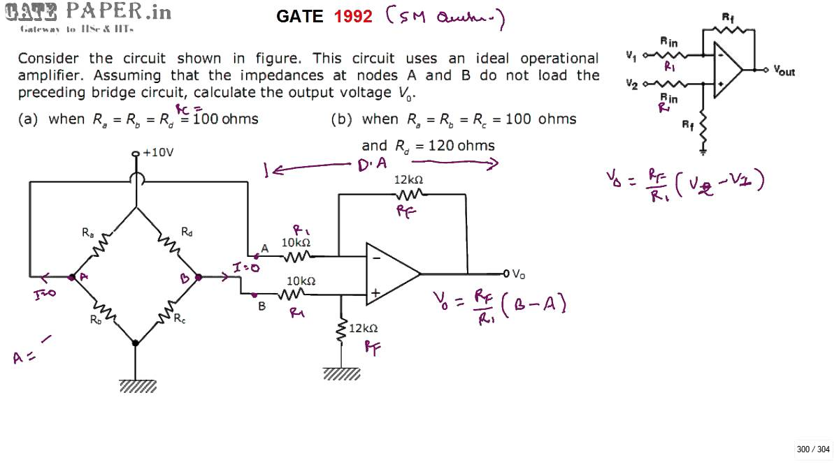 Gate 1992 Ece Output Voltage Of Ideal Op Amp With Unbalanced Bridge Where Can You Find An Amplifier A Single Input And What At