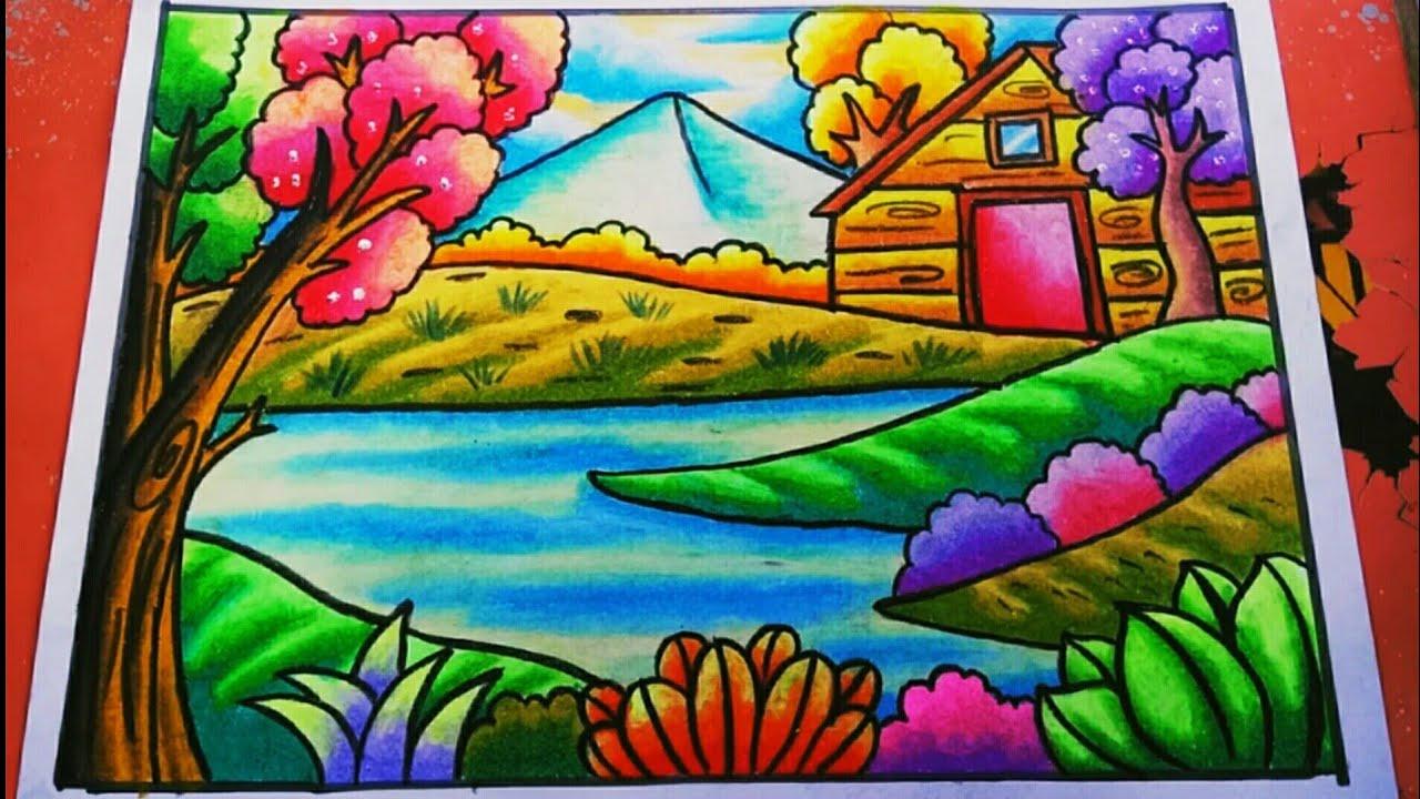 Cara Menggambar Dan Mewarnai Pemandangan Alam Gunung Dan Danau