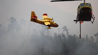 Incendie Menton - Canadairs, hélicoptères, pompiers filmés de très près (9 septembre 2015)